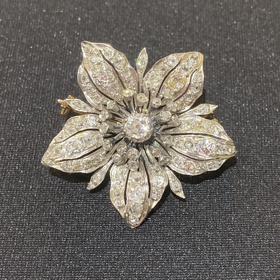 Victorian Diamond Flower Brooch.