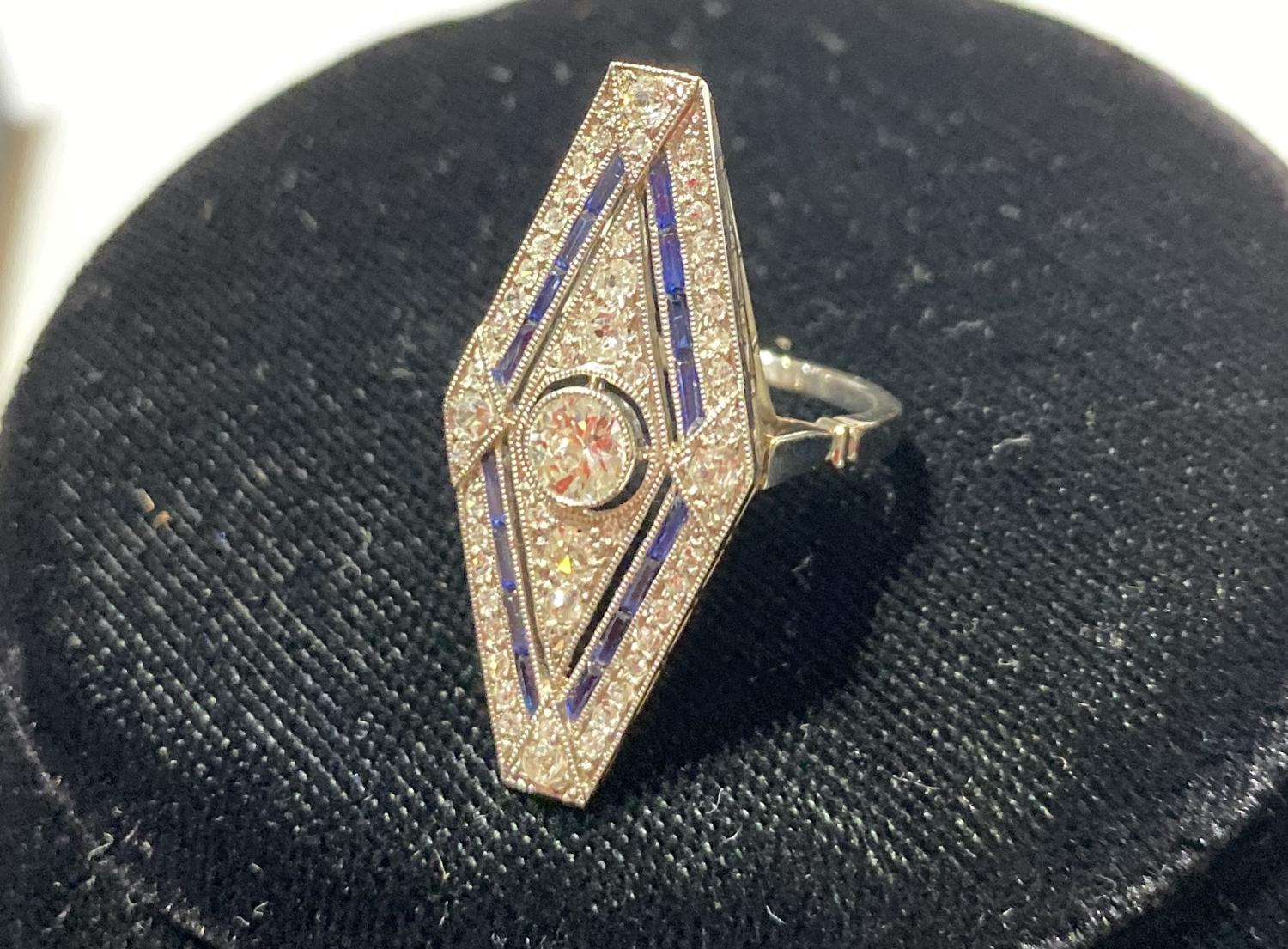 Art Deco Diamond Plaque Ring