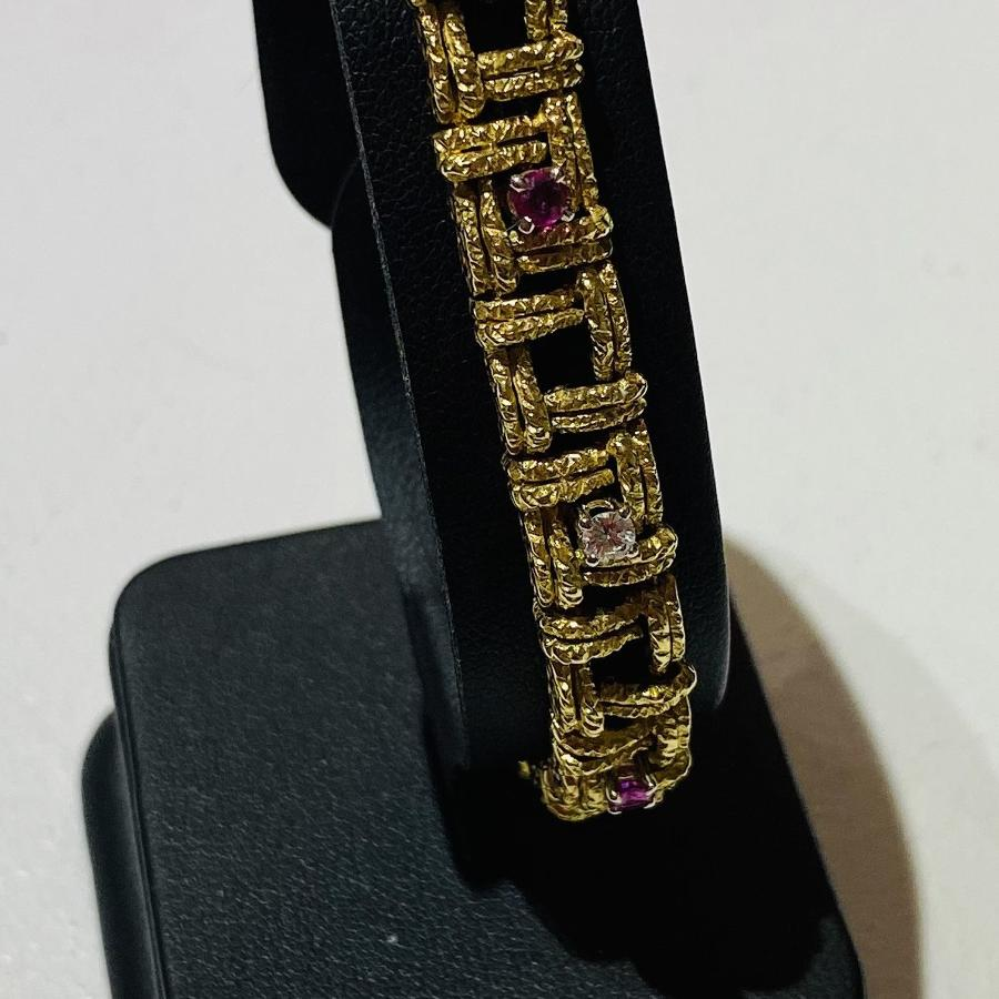 Mid Century Ruby & Diamond Bracelet