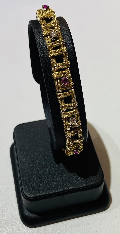 Mid Century Ruby & Diamond Bracelet