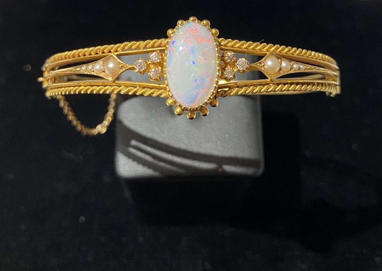 Victorian Opal & Diamond Bangle