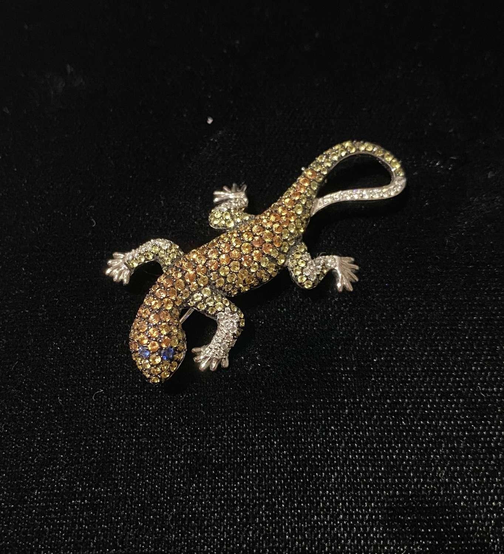 Diamond & Sapphire Salamander Brooch