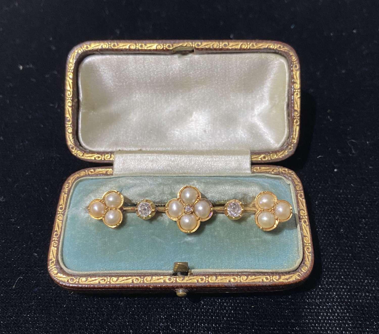 Victorian Diamond & Pearl Brooch