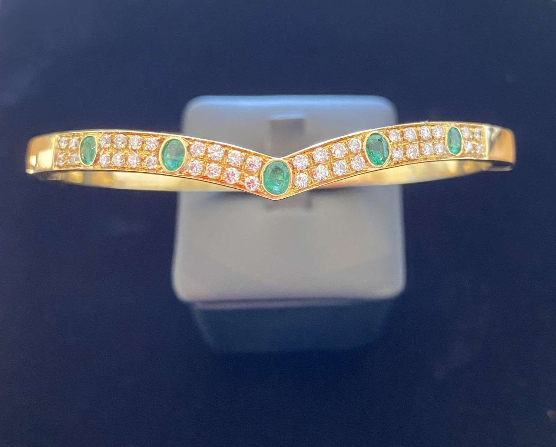 Diamond & Emerald Bangle