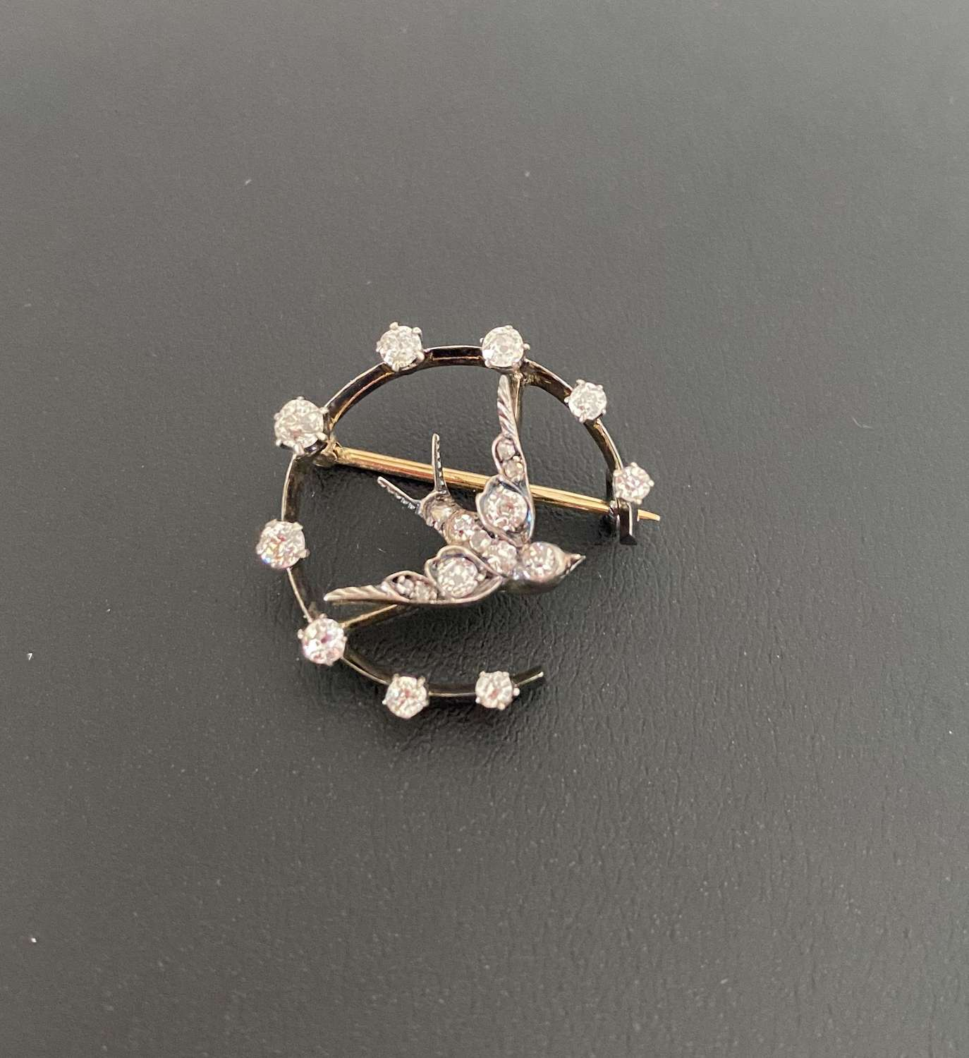 Victorian Diamond Swallow Brooch