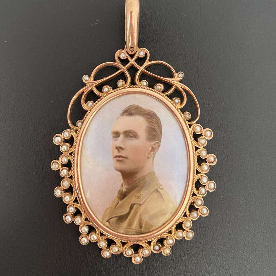 A Portrait Miniature Gold Pendant