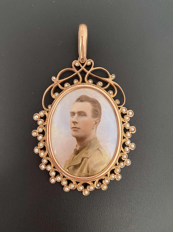 A Portrait Miniature Gold Pendant