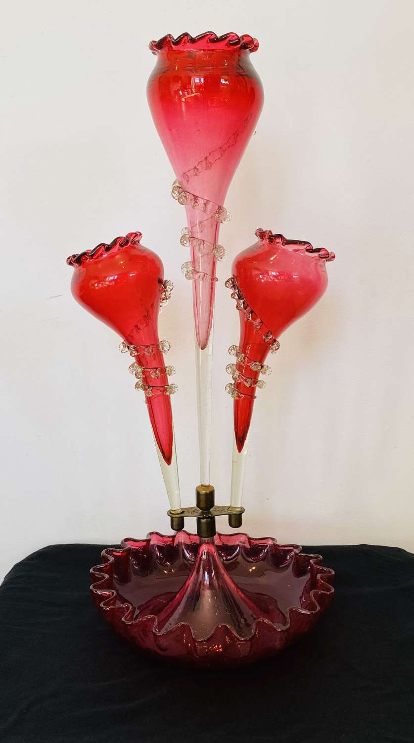 Victorian Cranberry Epergne