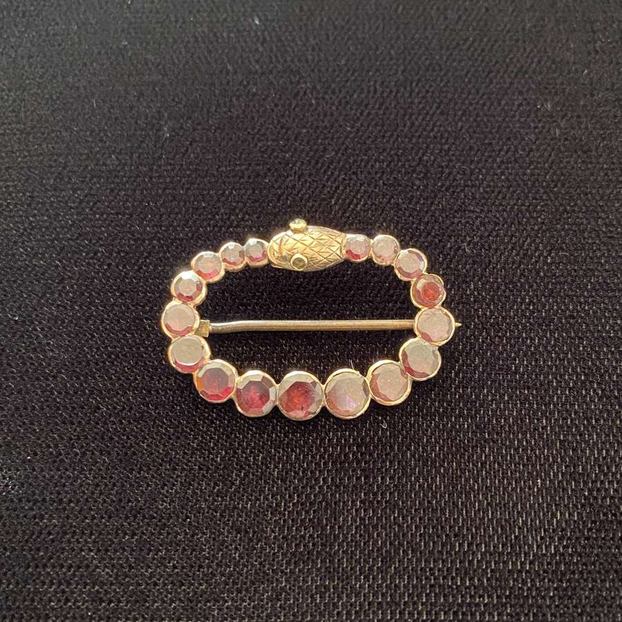 Almandine Garnet Snake Pin