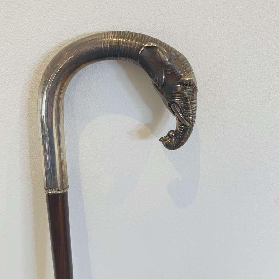 Silver Elephant Head Cane