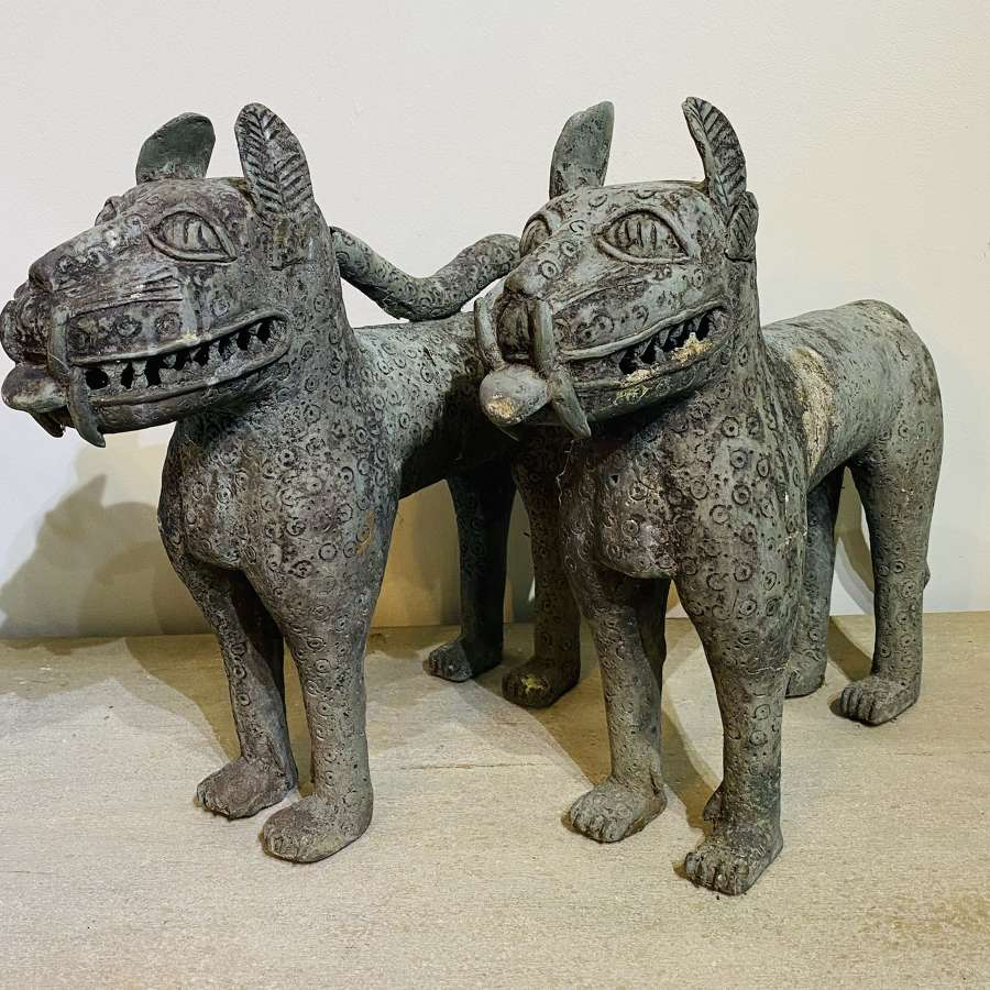 A Pair Of African Benin Style Dogs