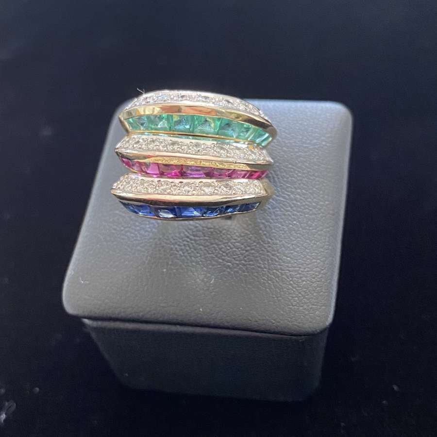 Diamond Ruby Sapphire & Emerald Ring Set