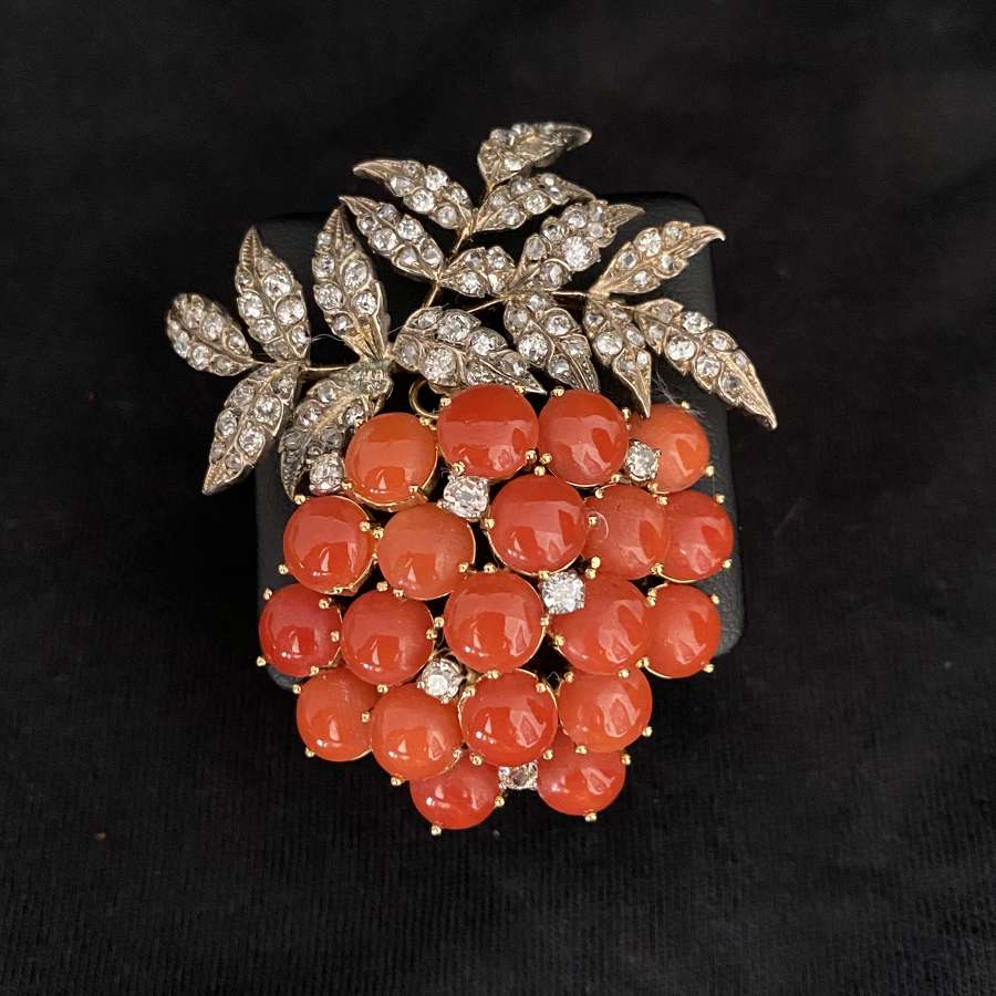 A Diamond & Coral Brooch
