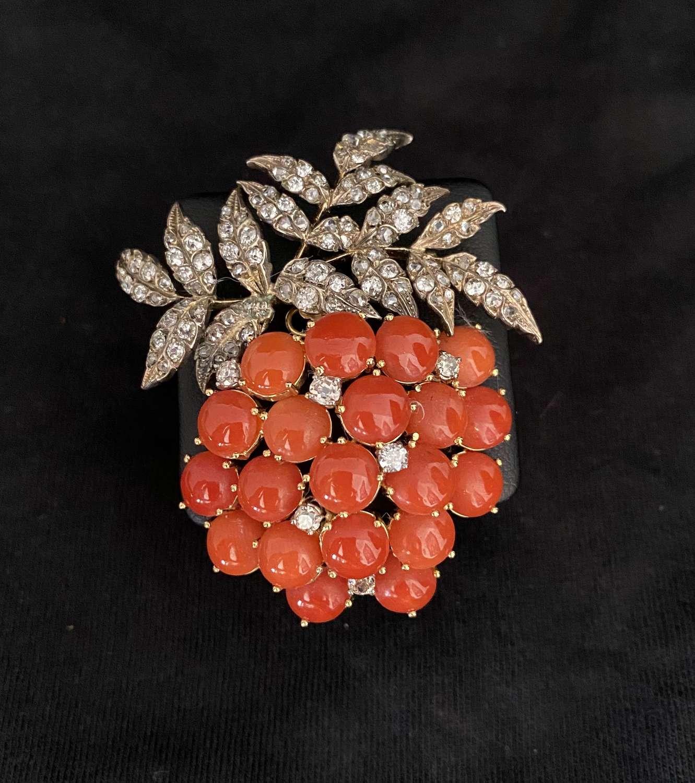 A Diamond & Coral Brooch