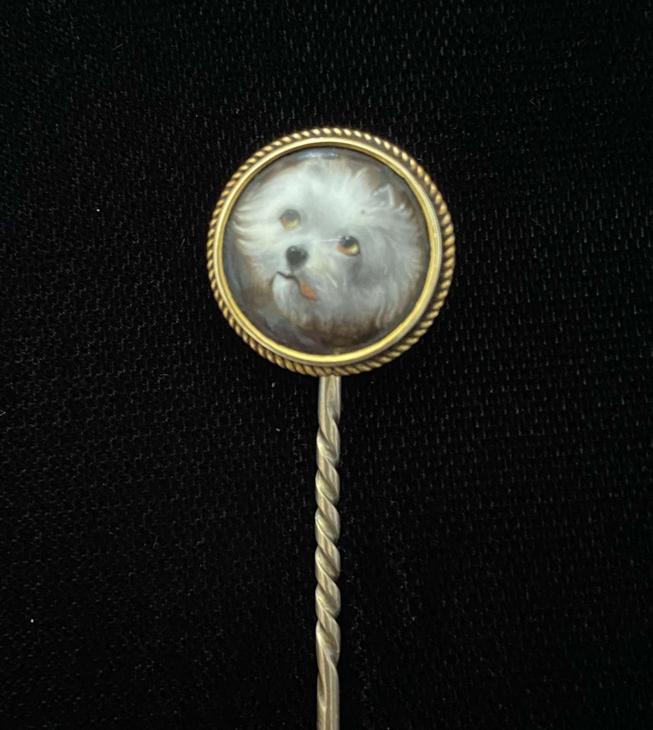 Enamelled Dog Stick Pin