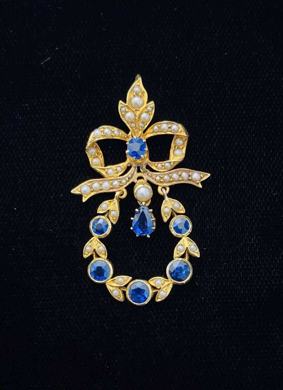 Sapphire & Pearl Pendant