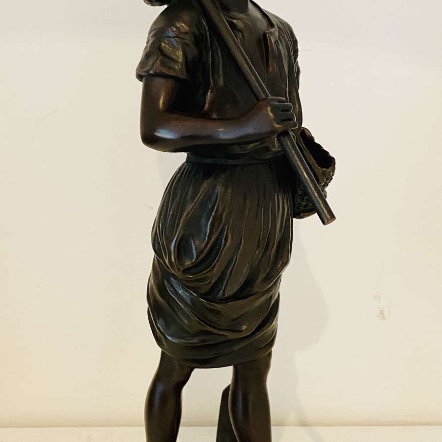 19th Century Fishing Girl Bronze