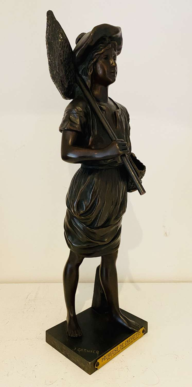 19th Century Fishing Girl Bronze