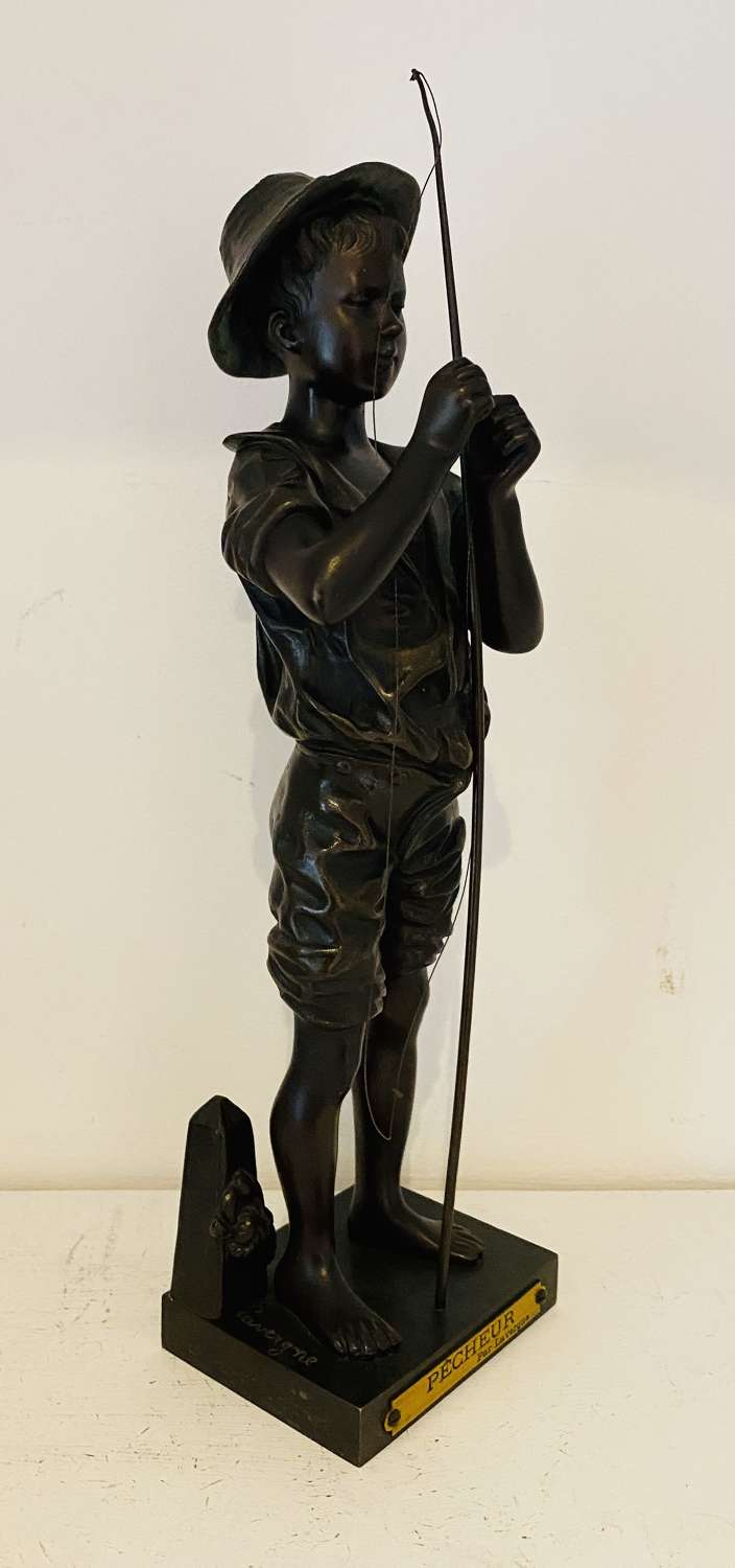 19th Century Fishing Boy Bronze