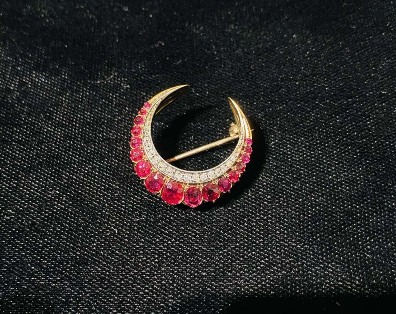 Ruby & Diamond Crescent Brooch