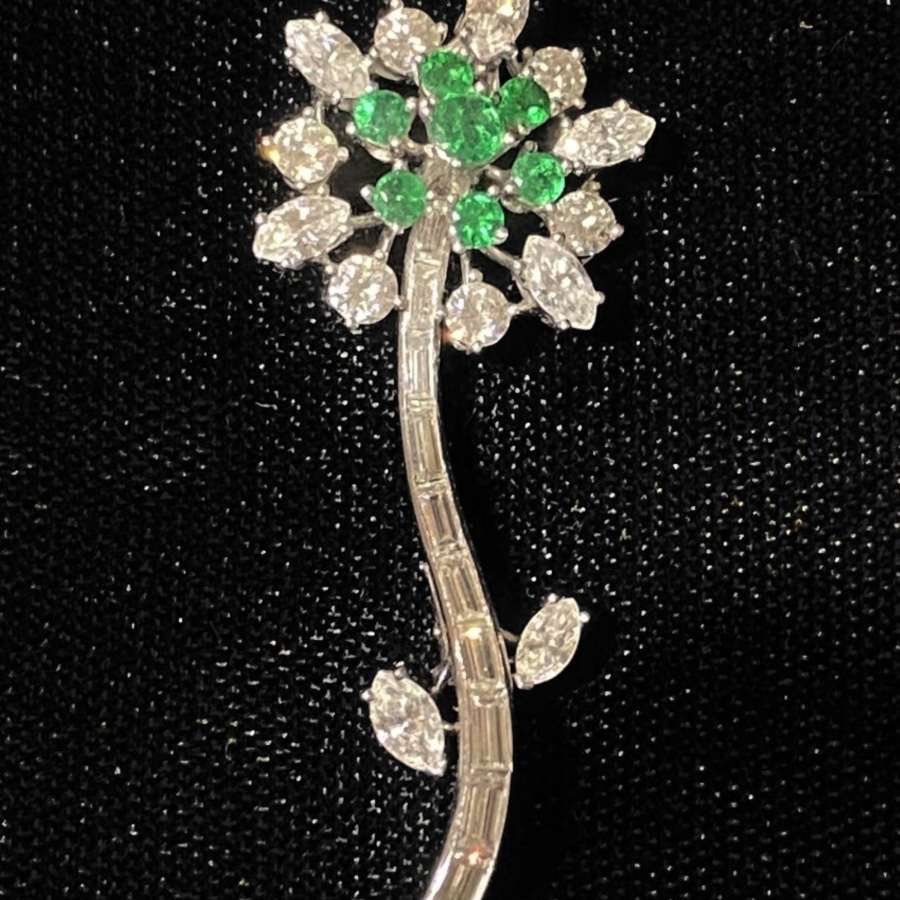 Art Deco Diamond & Emerald Flower Brooch