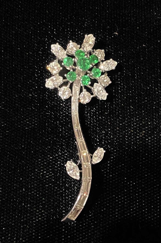 Art Deco Diamond & Emerald Flower Brooch