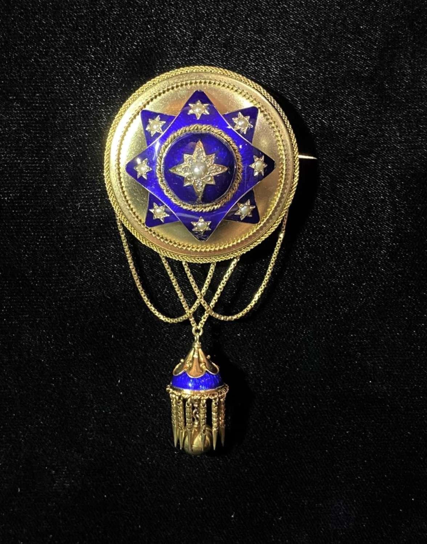 Victorian enamelled brooch.