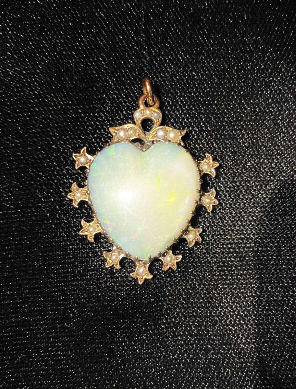 Edwardian Heart Opal Pendant